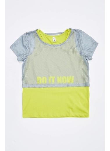 Defacto –Fit Kız Çocuk İçi Atlet Detaylı Relax Fit Tişört Takım Gri
